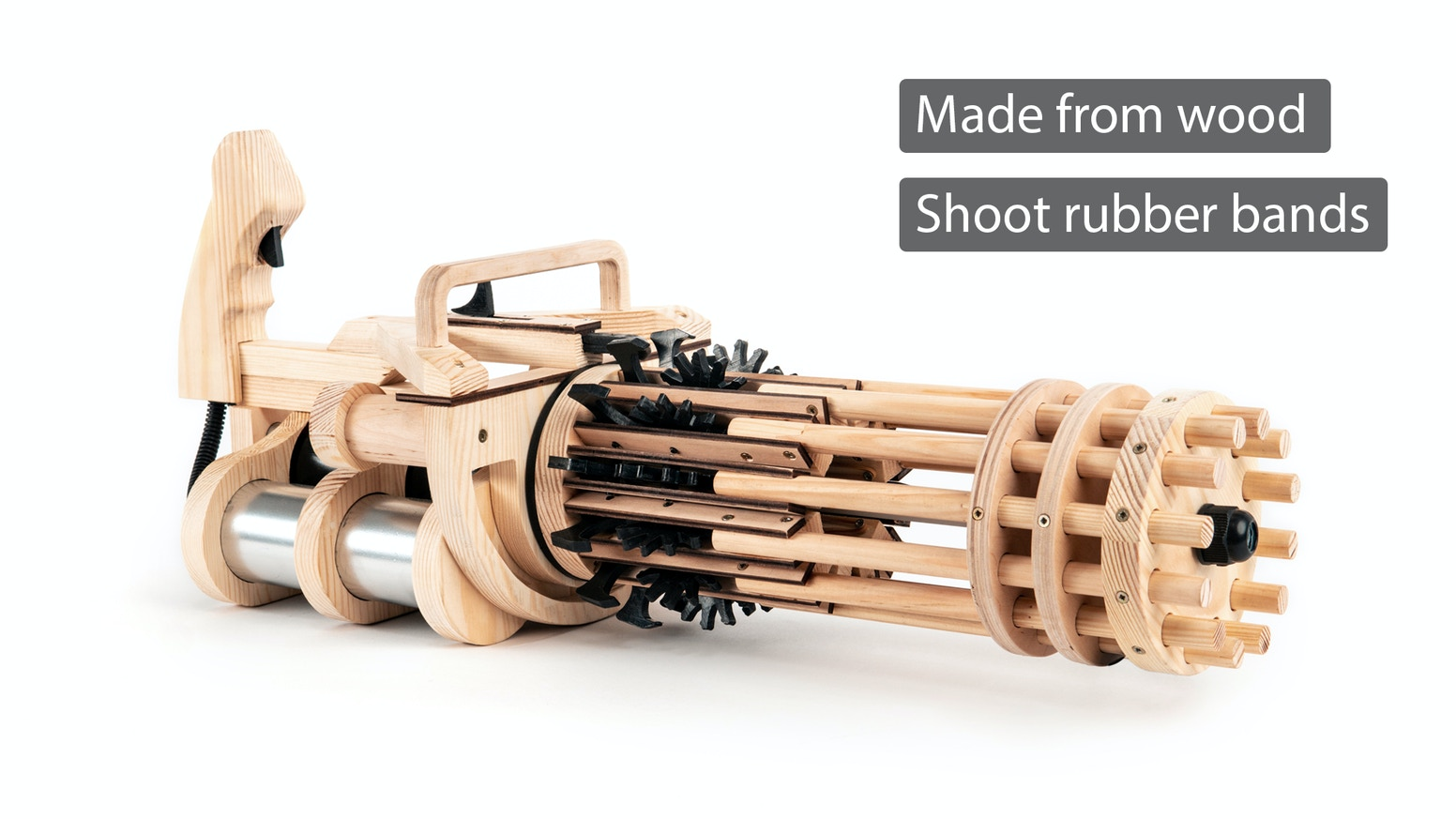 A fully automatic, made from wood, with specially designed mechanism that allows you to load it in a matter of minutes.