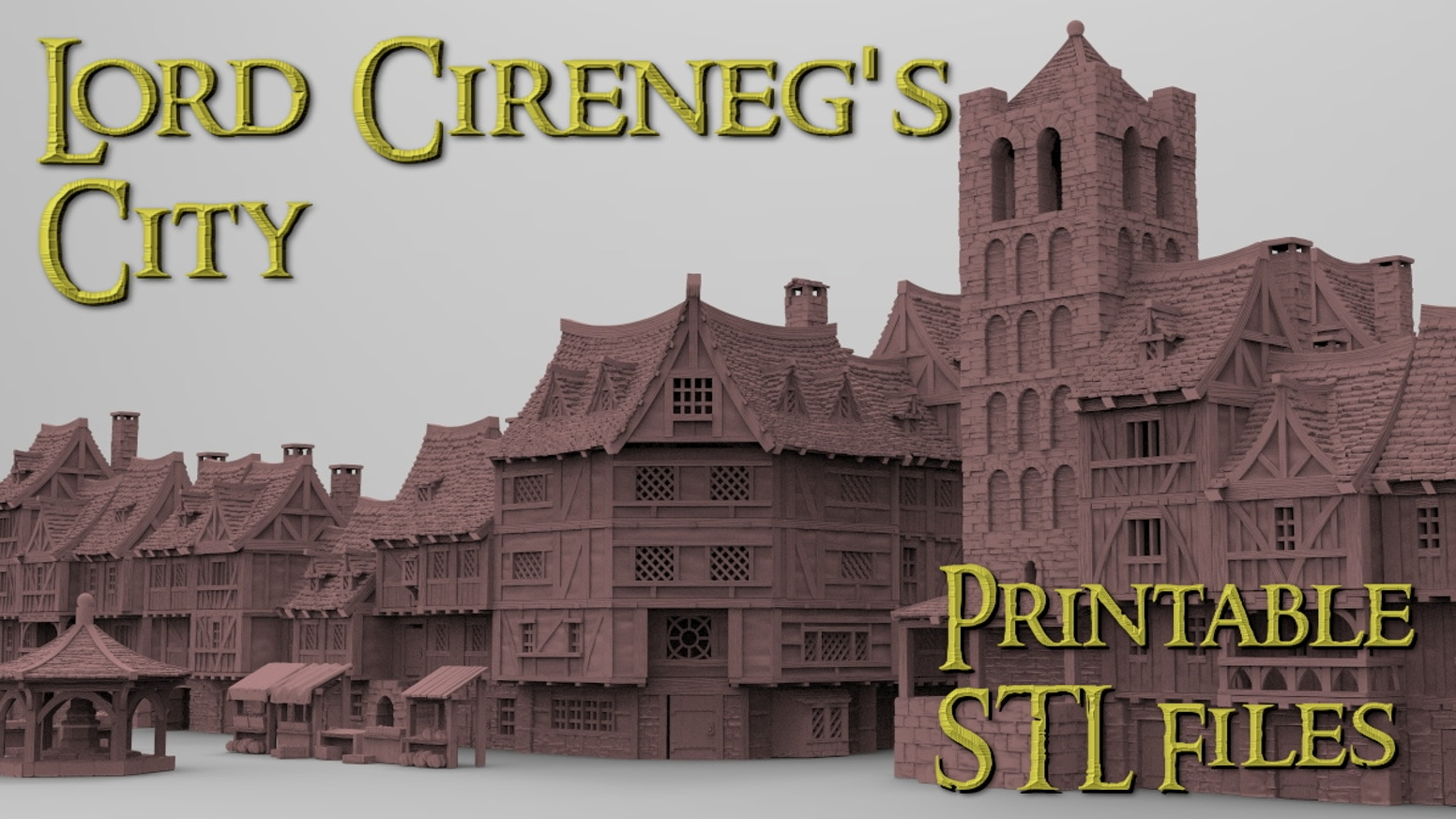 Printable STL files of a medieval/fantasy city with closely packed buildings for a great bustling city experience for your tabletop.