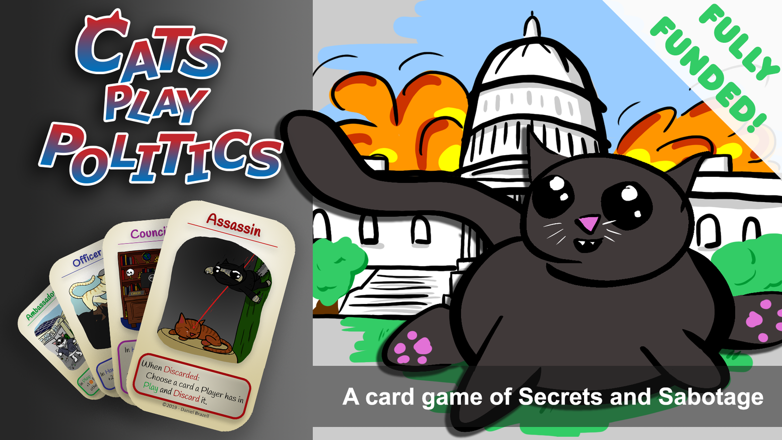 A strategic Card Game of Cats and Politics, somehow all contained in a single Mint Tin.