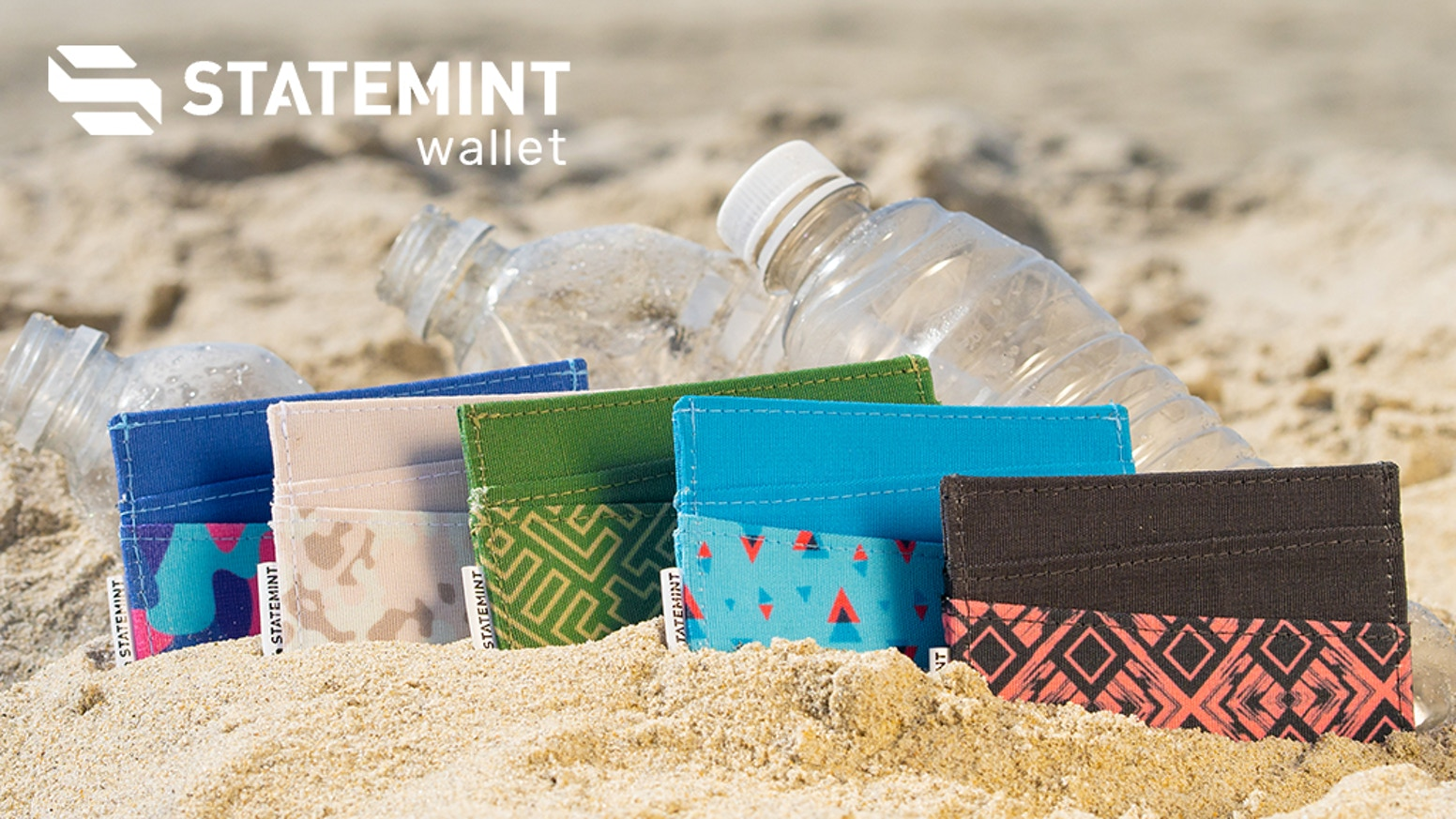 The stylish Statemint Wallet is made of sustainable recycled plastic, prevents ocean pollution & provides recycling education in Africa