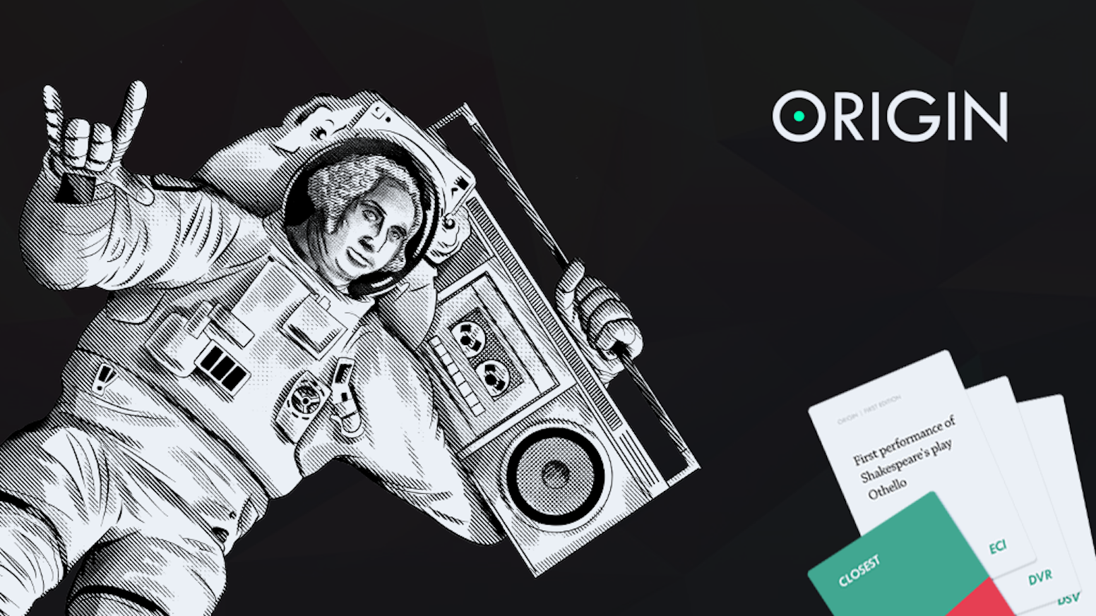 Somewhere between trivia and poker, Origin is a card game won through collusion and charisma.