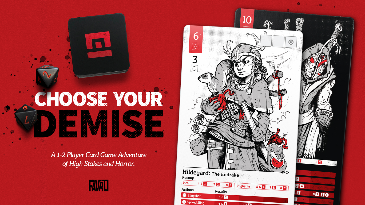 A harrowing card game adventure with enemy encounters, interactive story-driven scenarios, and high-end art and design.