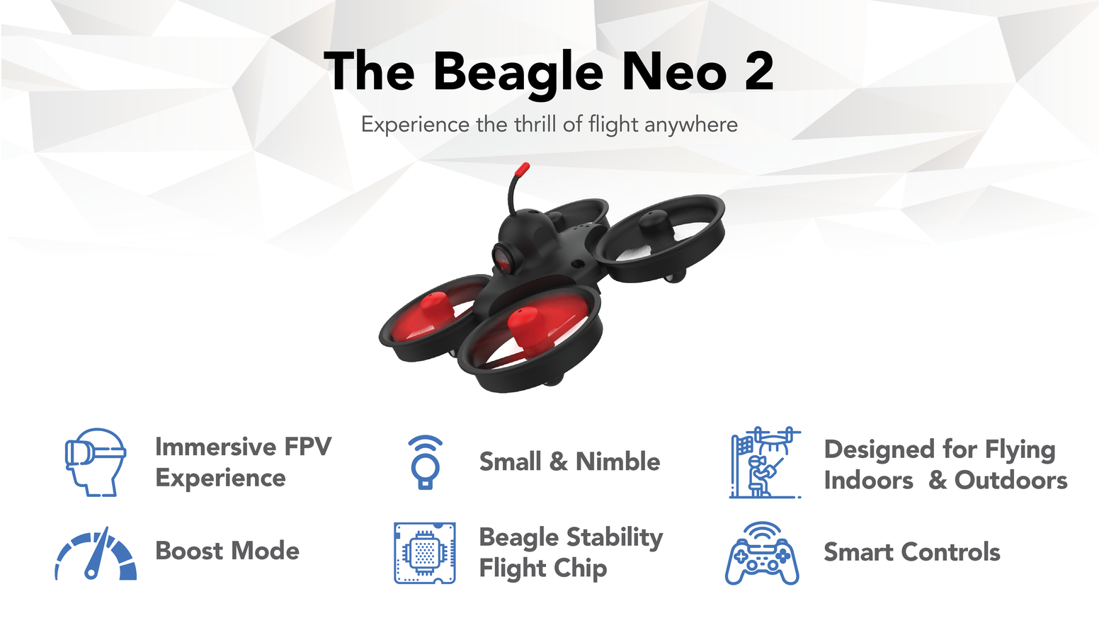 A feature-loaded experience like none other. We've created a fully immersive drone that fits in the palm of your hand.