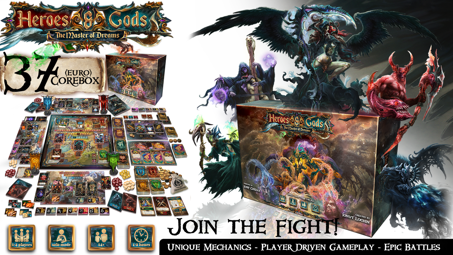 The epic fantasy player-driven board game where you control your own fate. Play solo, co-op or free for all. Join the fight!