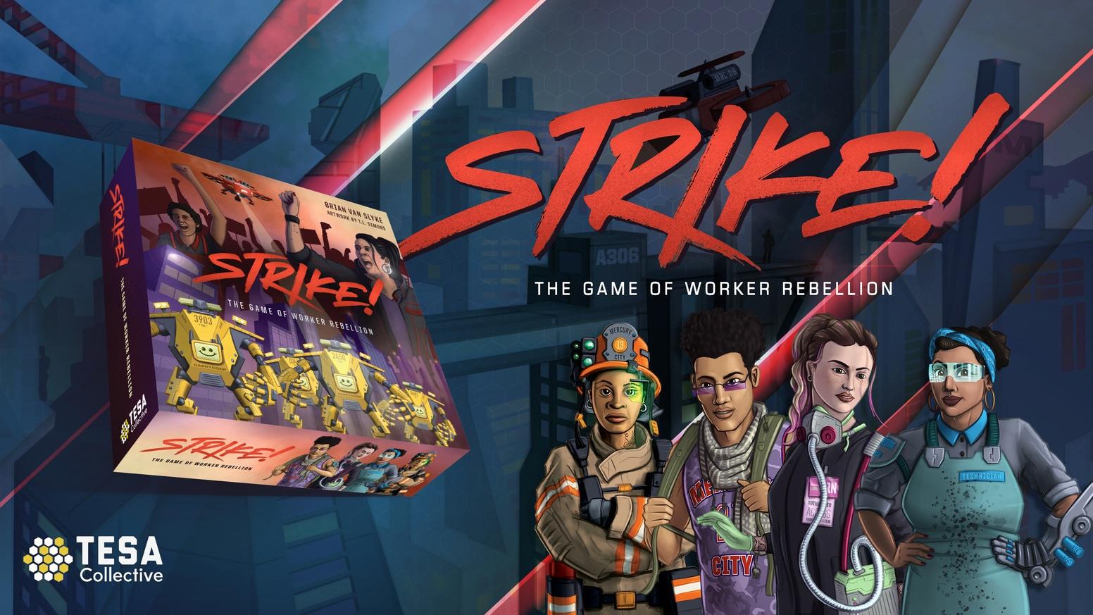 Lead a city-wide strike of workers against the diabolical HappyCorp in this cooperative board game!