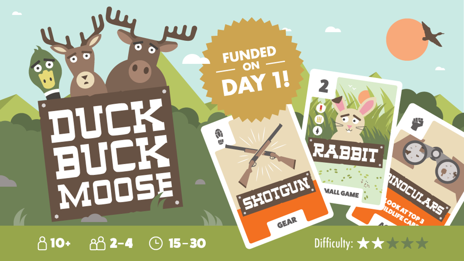 Compete with your friends on a hunt for furry woodland creatures in this totally not-serious card game of skill, sabotage and luck.