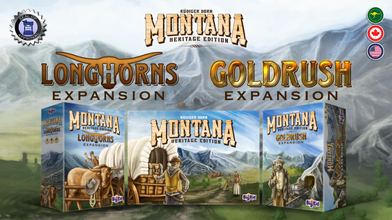 Supplies, ranches, watchtowers, special events, new landscapes, & more! 7 modules for Rüdiger Dorn's hit game in two packed expansions.