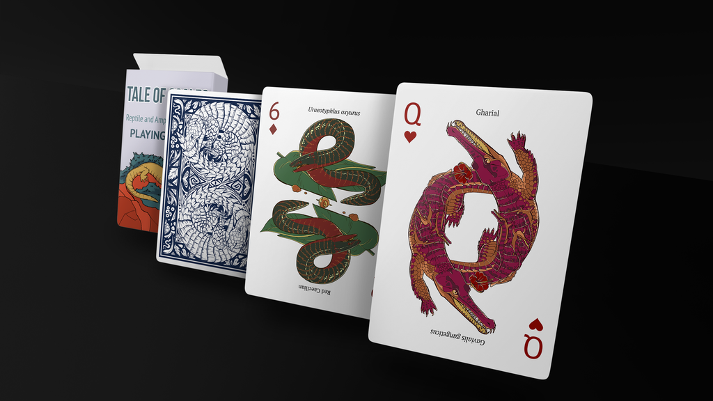 A reptile and amphibian inspired deck of playing cards.  55 Unique illustrations, 55 different reptiles and amphibians.