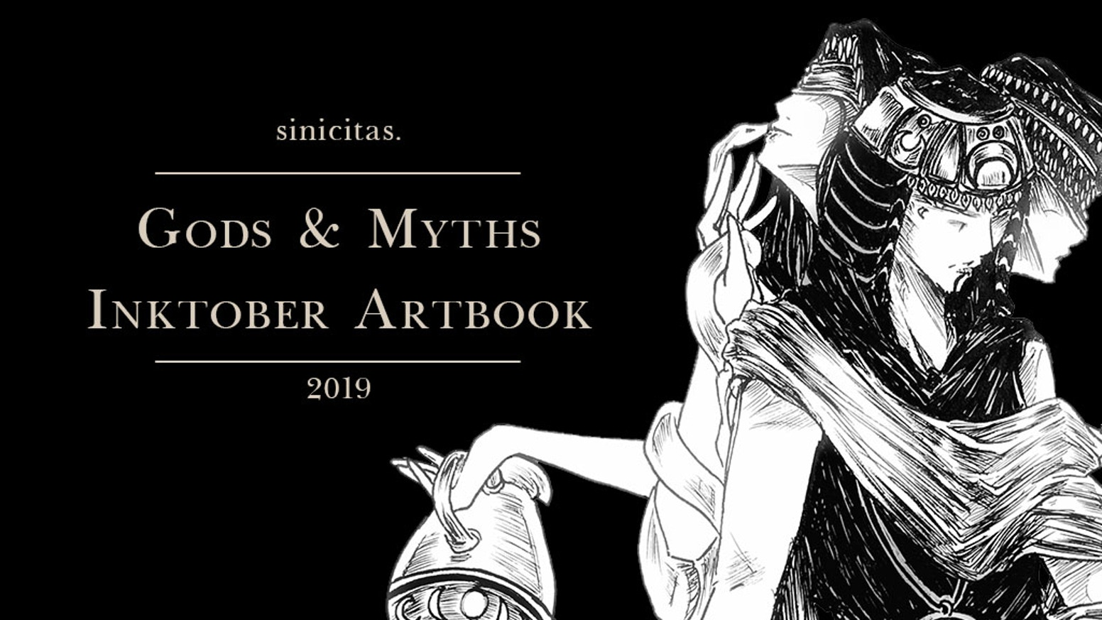 An Artbook with all of my Inktober characterdesigns + informations about the various gods and creatures they are based on.