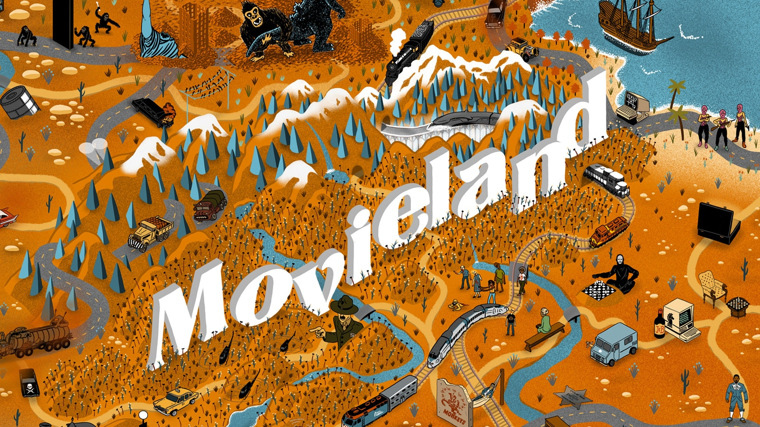 The Great Map of Movieland, the perfect gift for movie buffs, is back, now illustrated!