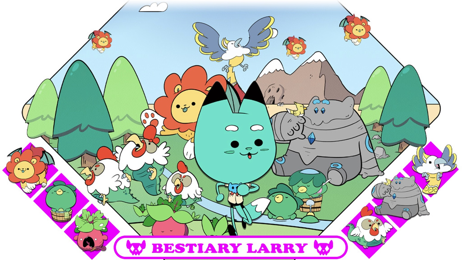 Bestiary Larry's Cute Collectible Creatures is a collectible hard enamel cloisonne' pin set of cute mythological monsters.