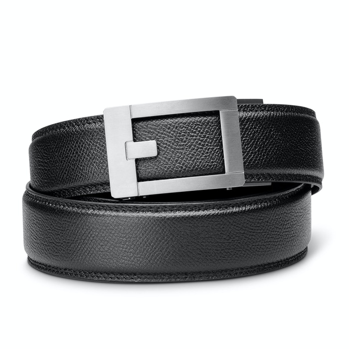 PERFECT FITTING BELT. Titanium Buckle, Micro Adjustable, Full-Grain Leather Belt, with Flex-Core™ Center. Awesome.