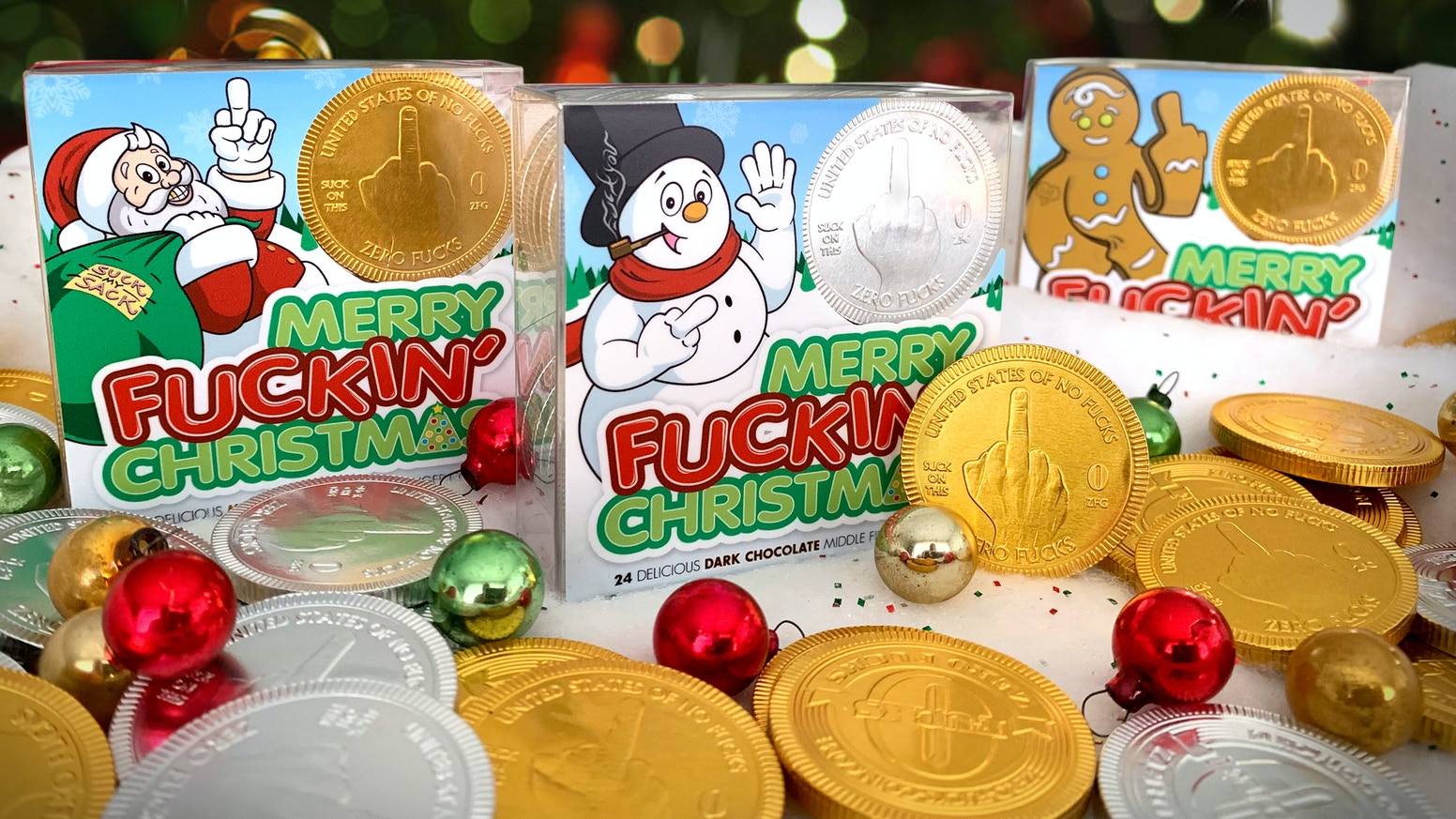 """Delicious """"stocking-stuffer"""" chocolate middle finger coins in Milk, Dark, and Dark Mint Chocolate! LIMITED EDITION!!!"""
