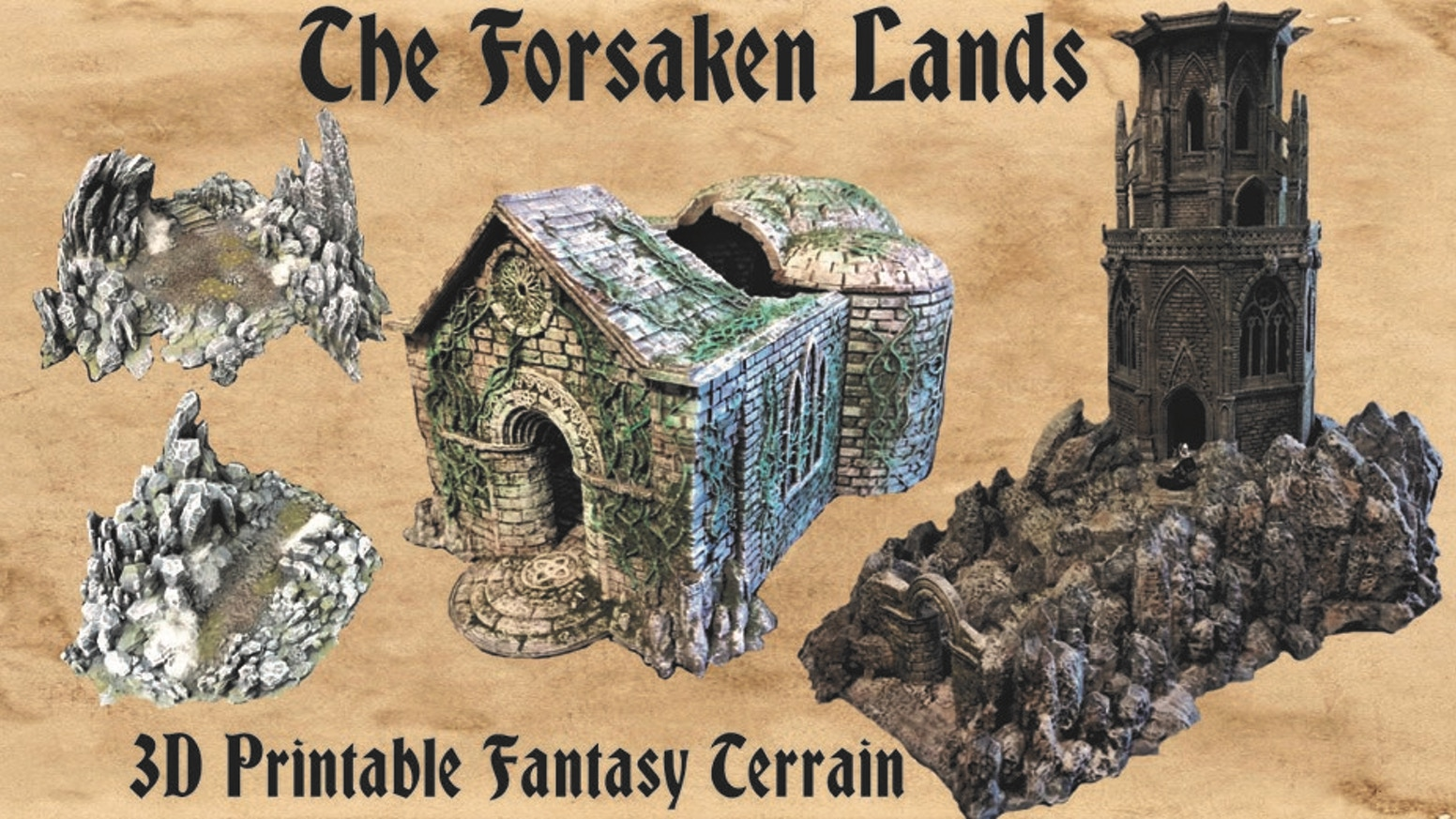 A 3D printable terrain STL set featuring highly detailed fantasy and architectural designs for tabletop miniature war games and RPGs.