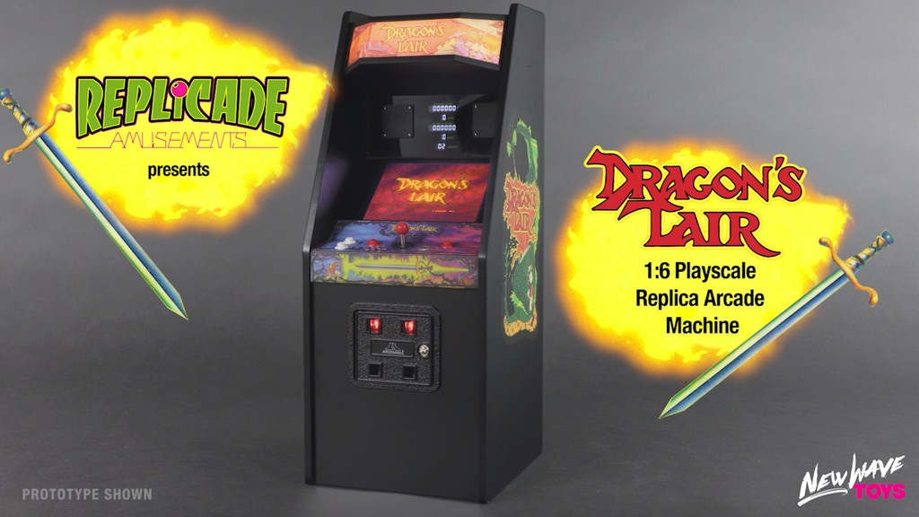 "RepliCade: Mini Dragons Lair Arcade Machine Replica 12"" Tall project video thumbnail"