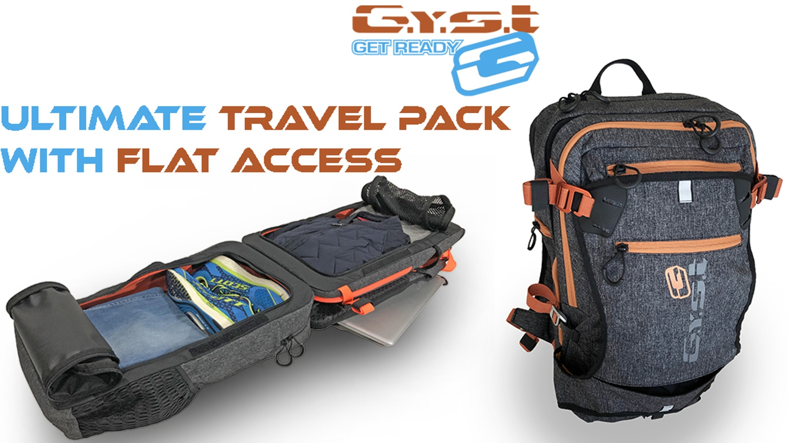 An extremely durable flat access backpack, with integrated walk-in mat.  Discover how the GYST magnetic bag opens flat like a luggage.