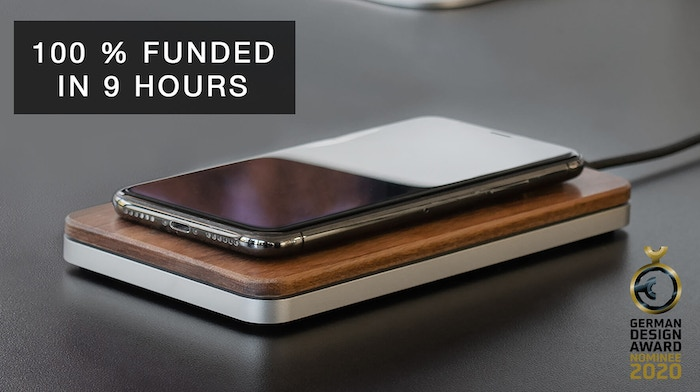 Engineered in Germany and CNC-machined from solid American walnut wood and metal, THE BRICK is the best Wireless Fast Charger out there