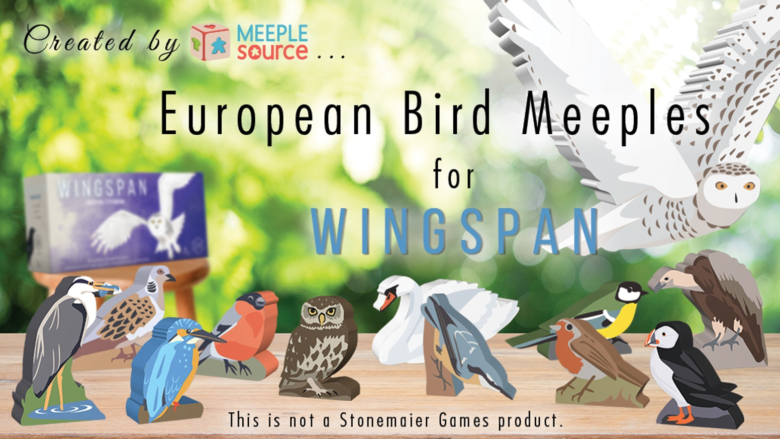 10 New European Bird Meeples and a giant Snowy Owl Start Player Token, for the upcoming European Expansion to Wingspan!