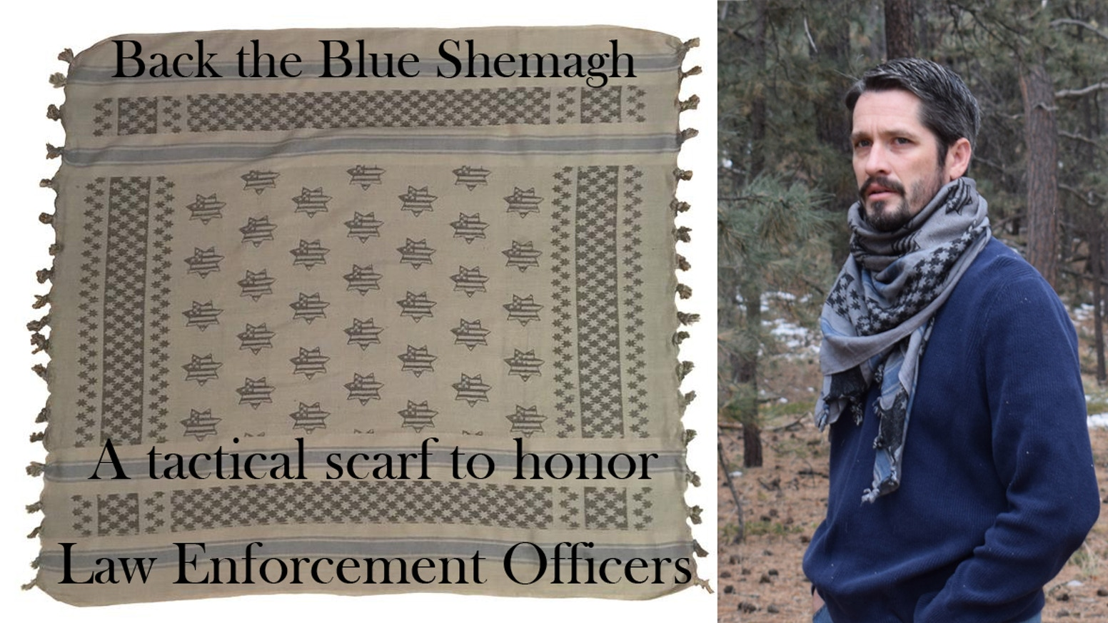 A high-quality woven cotton tactical scarf for law-enforcement officers and those who support them, with a blue line & shield pattern.