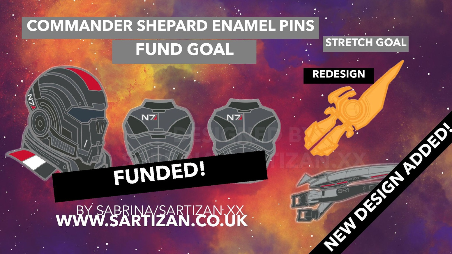 Mass Effect Commander Shepard Armor Hard Enamel Pins By