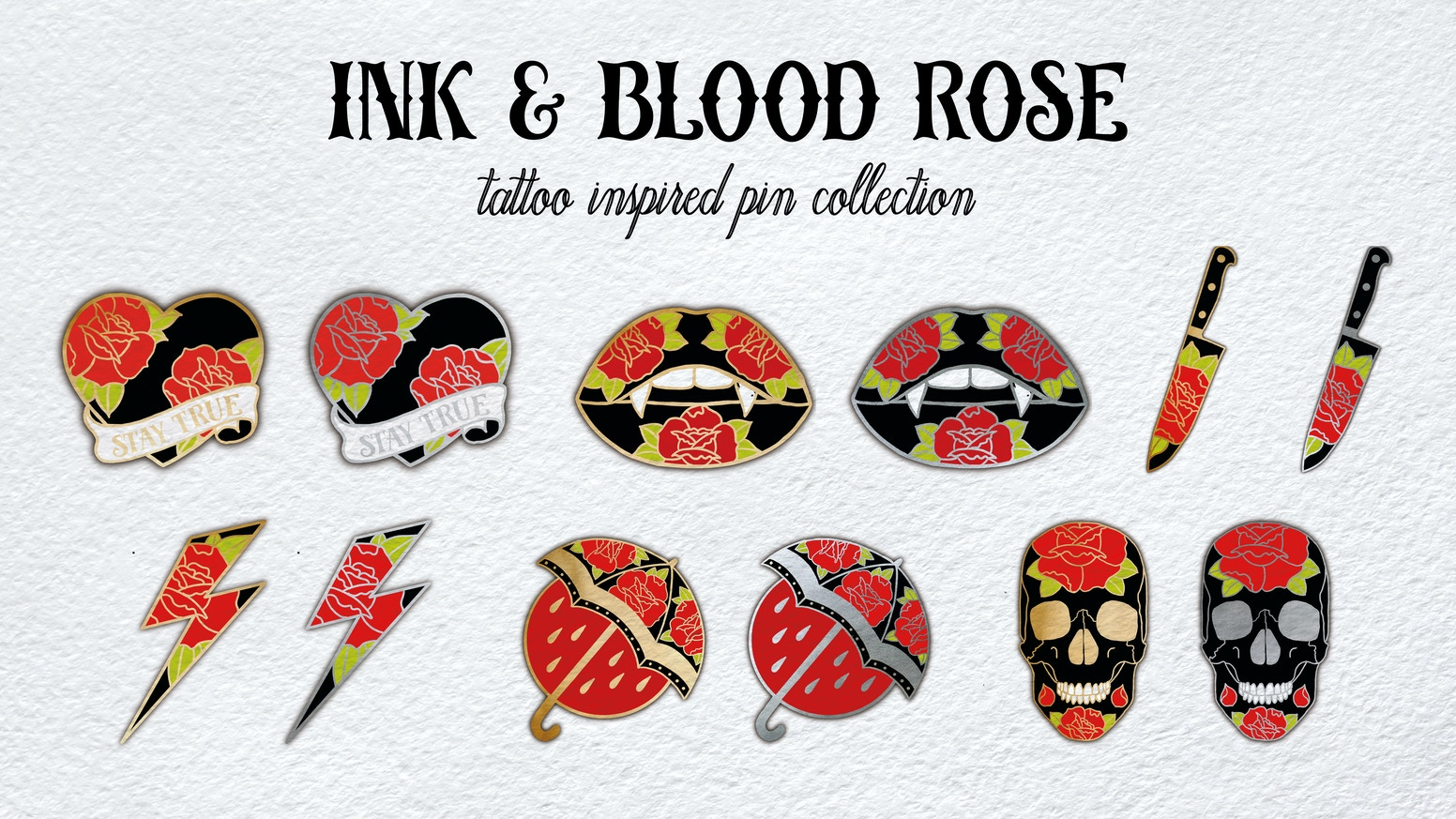 Set of 7 hard enamel pins inspired by traditional tattoo flash tattoo culture.