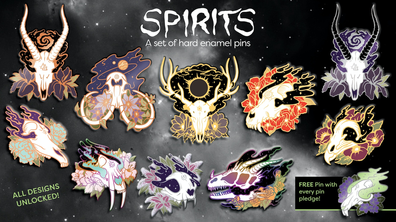 A spooky and celestial set of enamel pins featuring animal skulls, inspired by the spirits of the cosmos. Miss out on the kickstarter campaign? You can preorder via the link below!