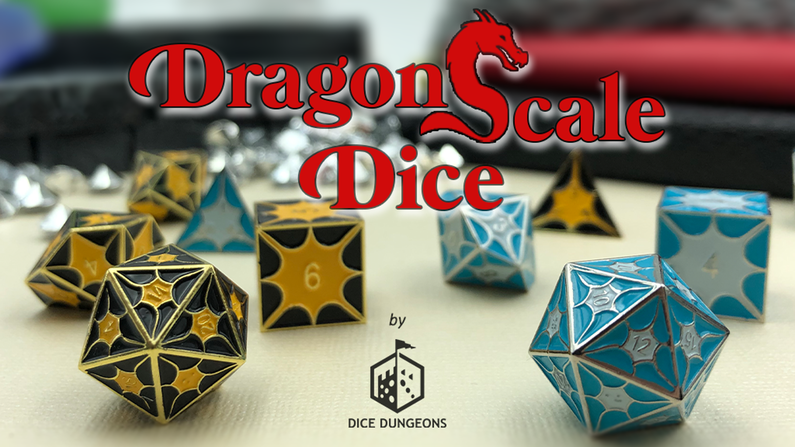 Dragon inspired polyhedral metal dice for your rpg campaigns.