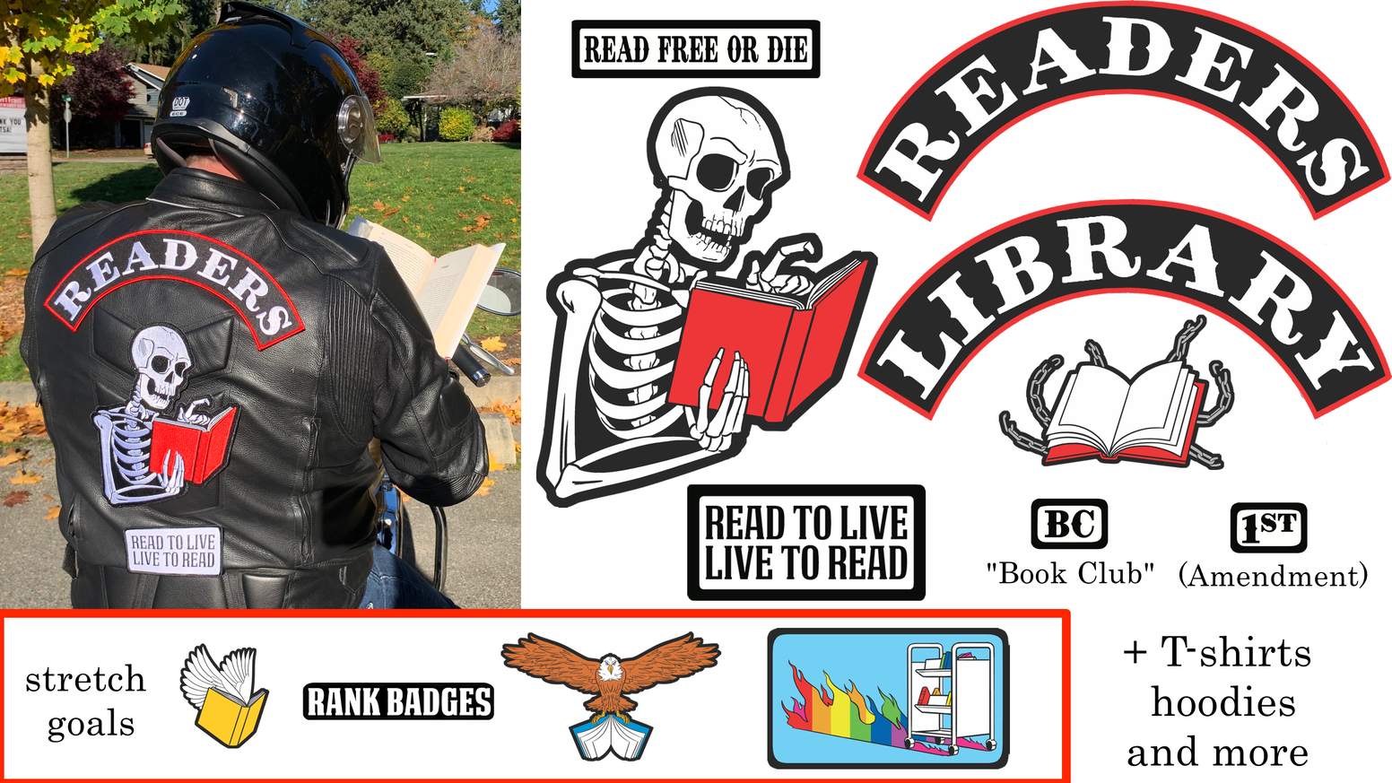 Do you admire biker jackets but prefer reading to the open road? These patches from the Library Comic team are for you.