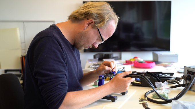 Stephan is working his magic on the PCB during the Research and Development phase.