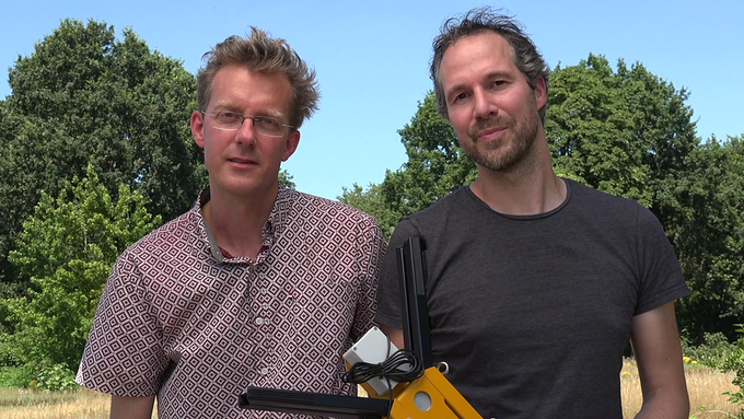 A proud Marten and Pim holding the BEEP base!