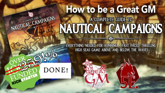 A 5th Edition compatible RPG book over 170 pages covering improved ship combat rules, contains over 33 unique ships, and so much more!