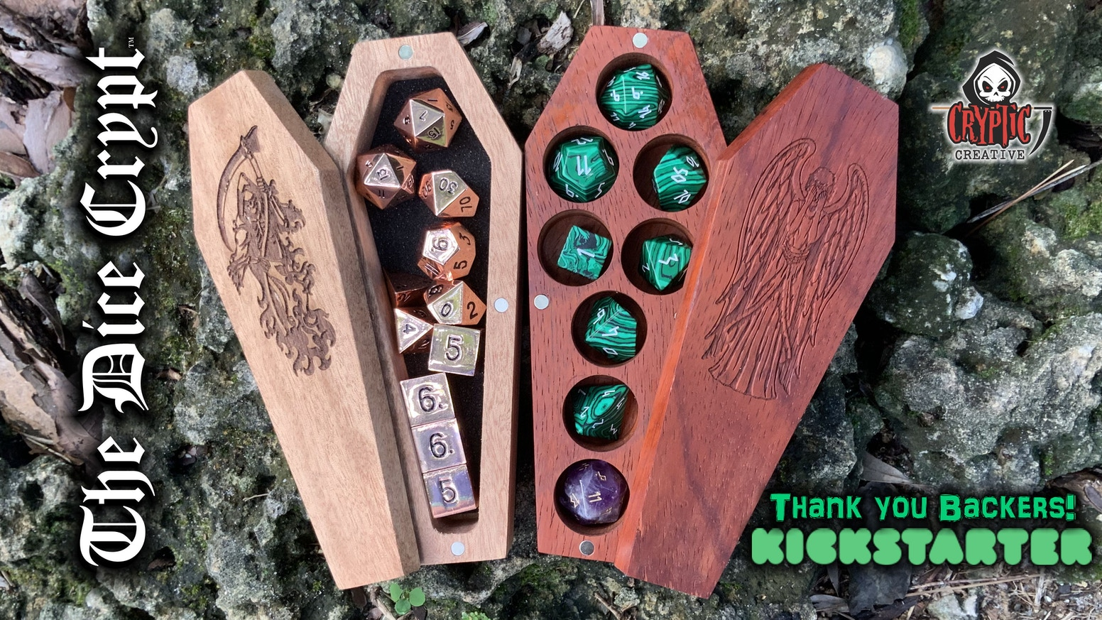 Coffin shaped wood  boxes to hold RPG dice and other stuff.   Original artwork for laser-engraved lids.
