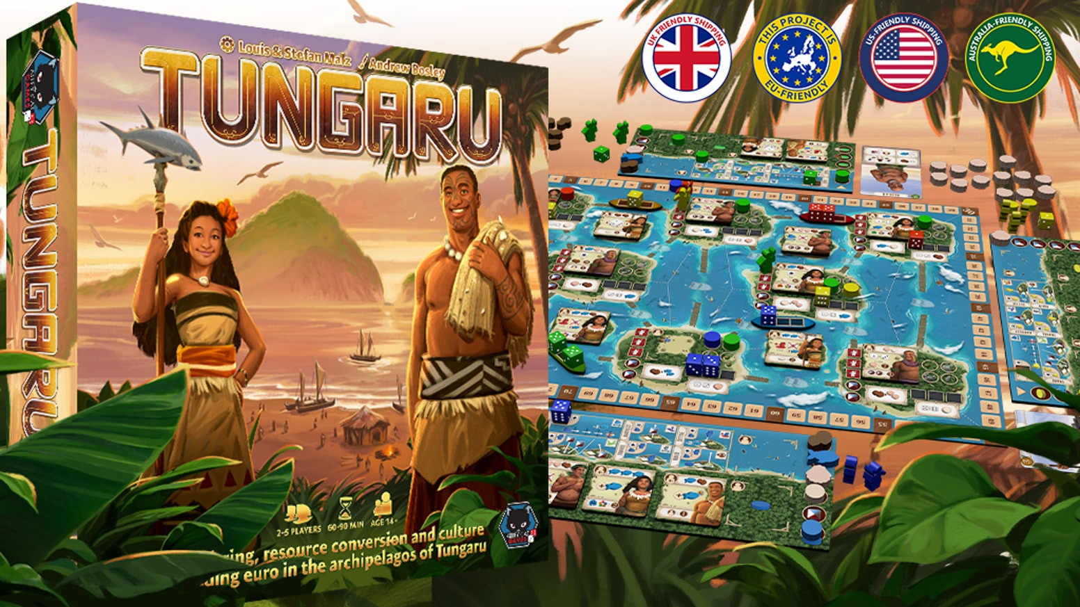 Tungaru - a seafaring, culture-spreading dice-placement Euro for 2-5 players set in the archipelago of Tungaru