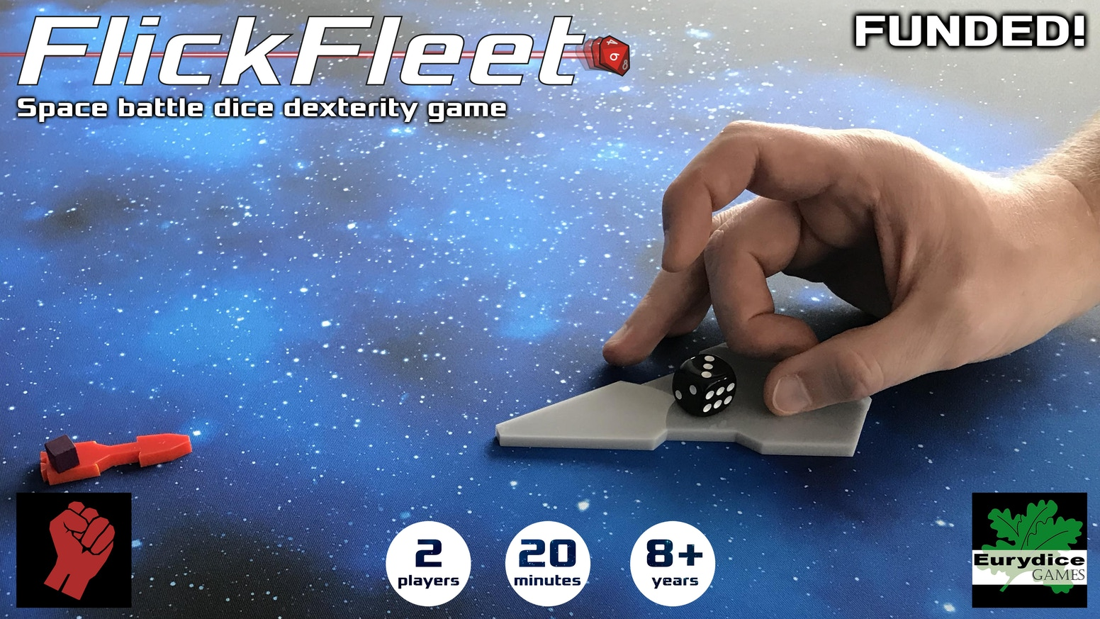 A reprint and a scenario pack for FlickFleet the space battle dexterity game where you flick your ships to move and flick dice to fire.