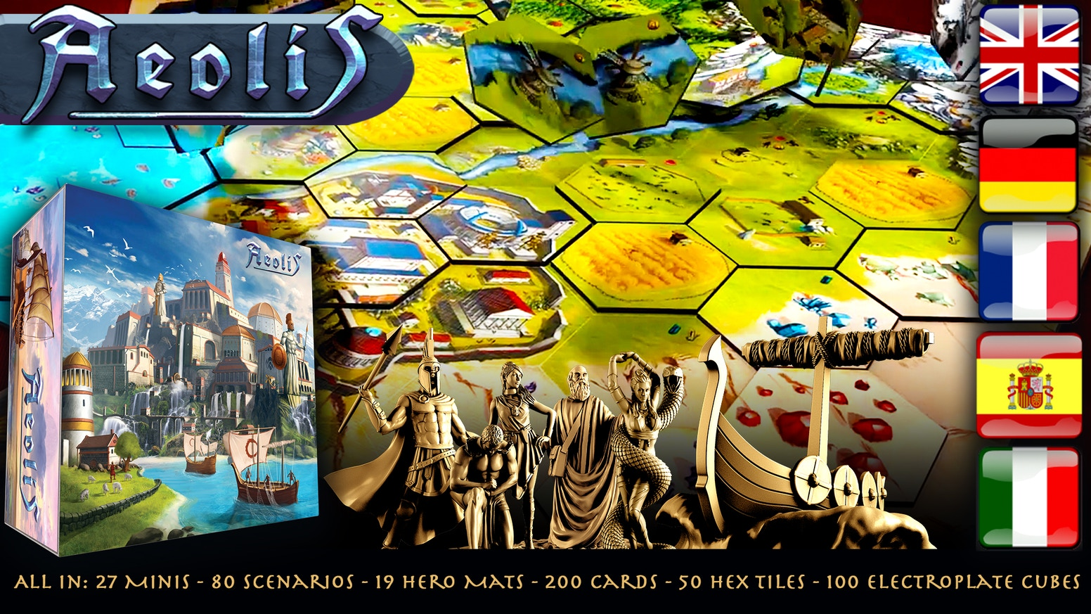 Aeolis is a fully cooperative game for 1-7 players. It is mainly a kingdom building miniature game with strong civ aspects.