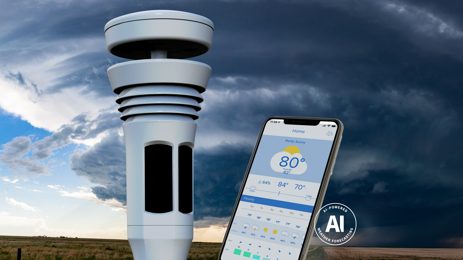 A cutting-edge weather station and AI-powered app provide you a better forecast. Share data with meteorologists everywhere.