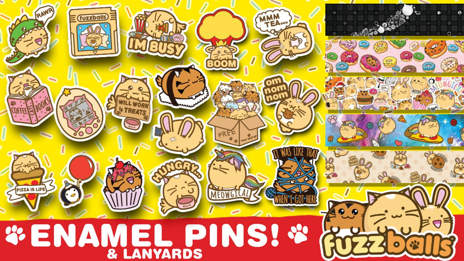 Super Cute Enamel Pins featuring the popular Fuzzballs characters as they eat pizza, play video games and go on the hunt for adventure.
