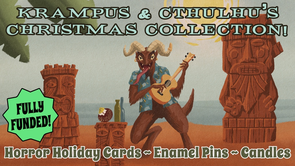 Project image for Krampus and Cthulhu Christmas Card and Enamel Pin Collection