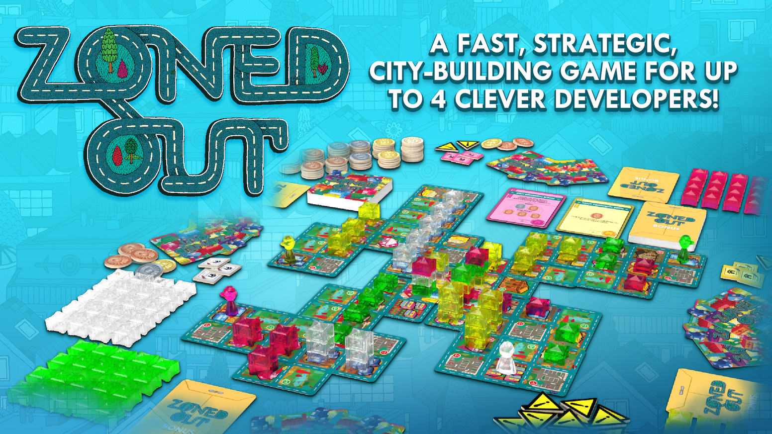 A fast, fun and easy to learn, city building game with a stunning table presence.