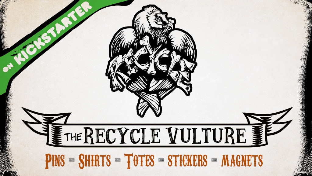"""Project image for The """"Recycle"""" Vulture enamel pins, totes, shirts, and more!"""