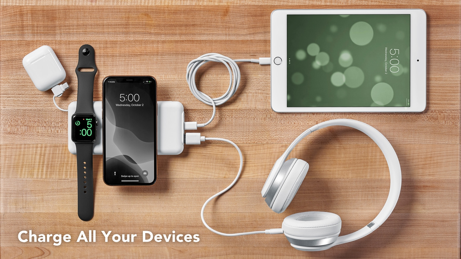 Just Simple Power Bank - All-in-One Portable Battery that Charges Up to 5 Devices & Up to 4X Faster