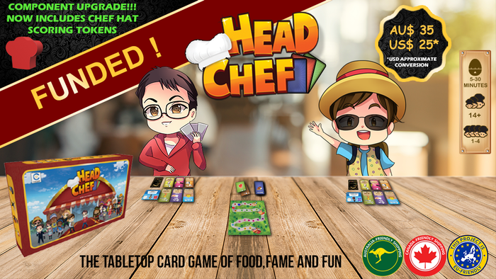 In this tabletop card game for 1-4 hungry players, you will cook food, earn fame and become... Head Chef! Missed your copy? Purchase a copy on our website before we commence shipping at www.CstarGames.com !
