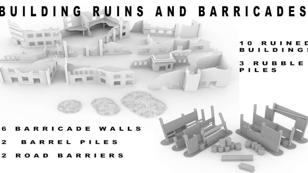 Project image for 3d printable terrain - building ruins and barricades