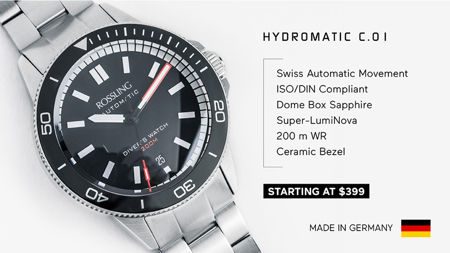 Swiss Automatic, Ceramic Bezel, 200 m Water Resistance and a Unique Double-Dome Box Sapphire Crystal