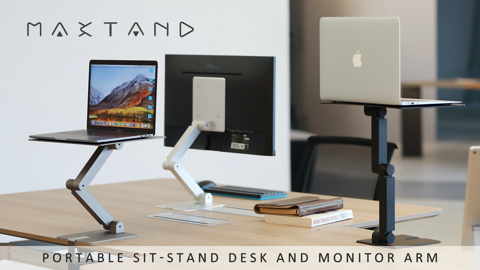The Maxtand turns any desk or table into a height-adjustable desk of up to 15 inches without taking up a ton of space.