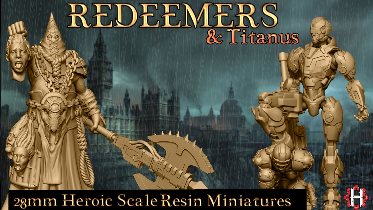 The Redeemers a set of Post Apocalyptic miniatures in 28mm Heroic Scale for table top games and 3D printing.