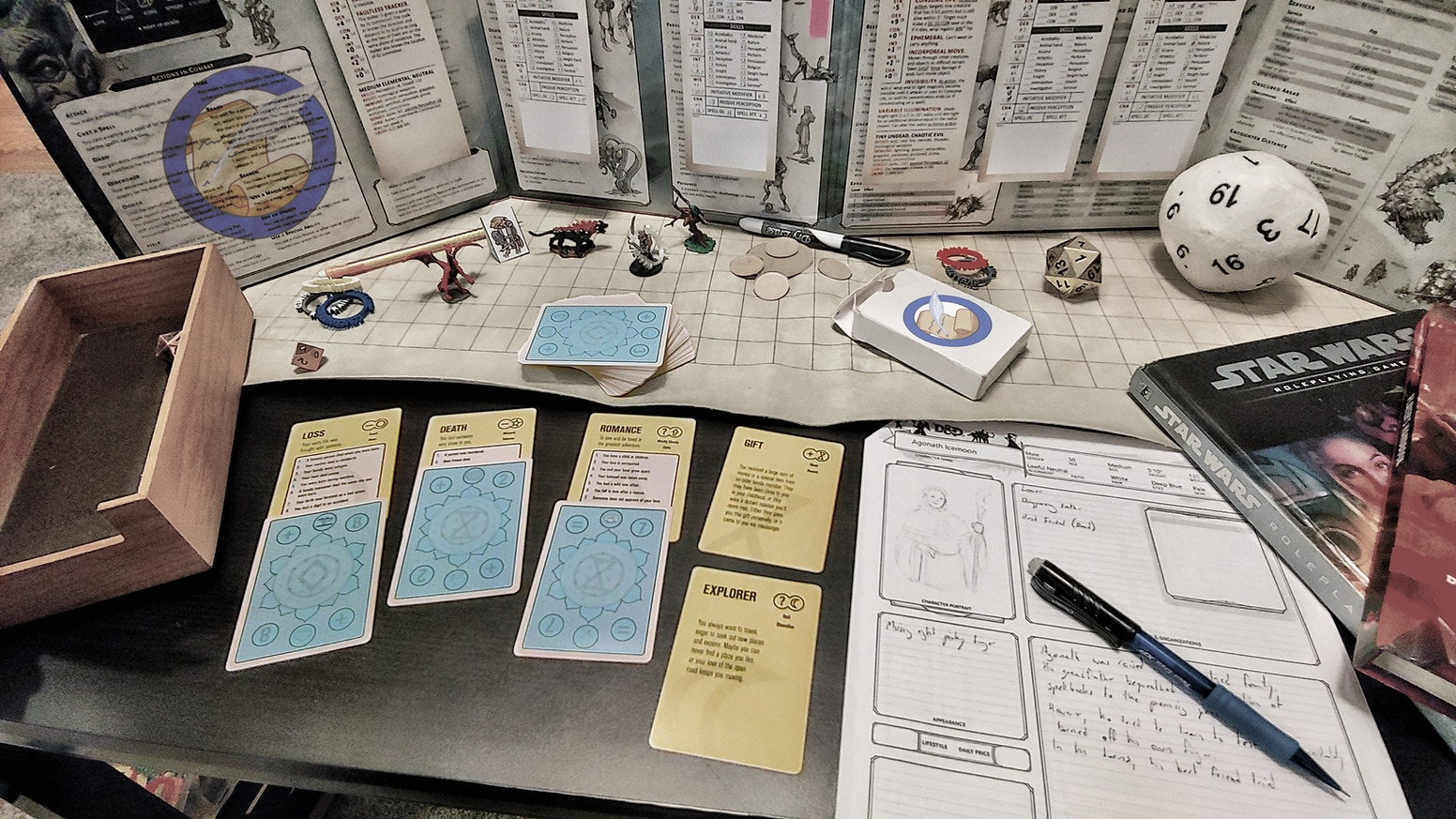 BBS is a card-based random life history generator for creative writing, RPG characters, RPG Gamemasters, and even song writers. Works with any RPG system.