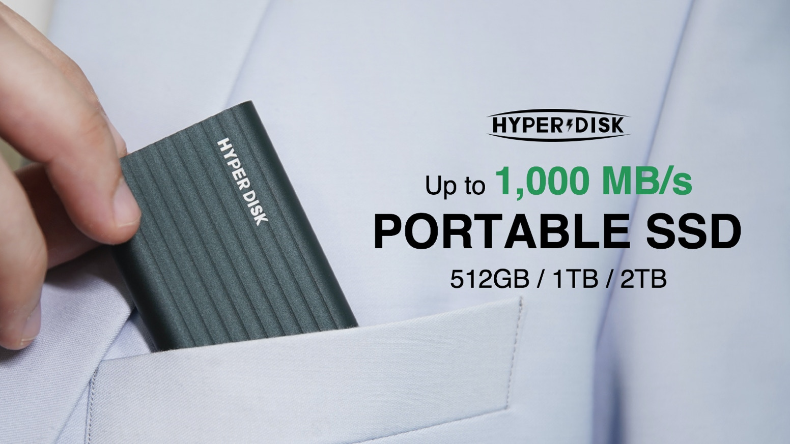 A 45g and pocket-sized Portable SSD with up to 1,000 MB/s read/write speed, compatible with your phones, pads, MACs and PCs.