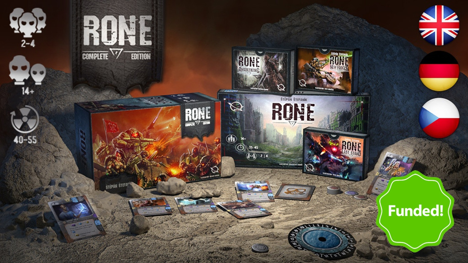 RONE: Complete edition is a strategic post-apocalyptic card game for 2 to 4 players that contains the Core Set and all expansions.