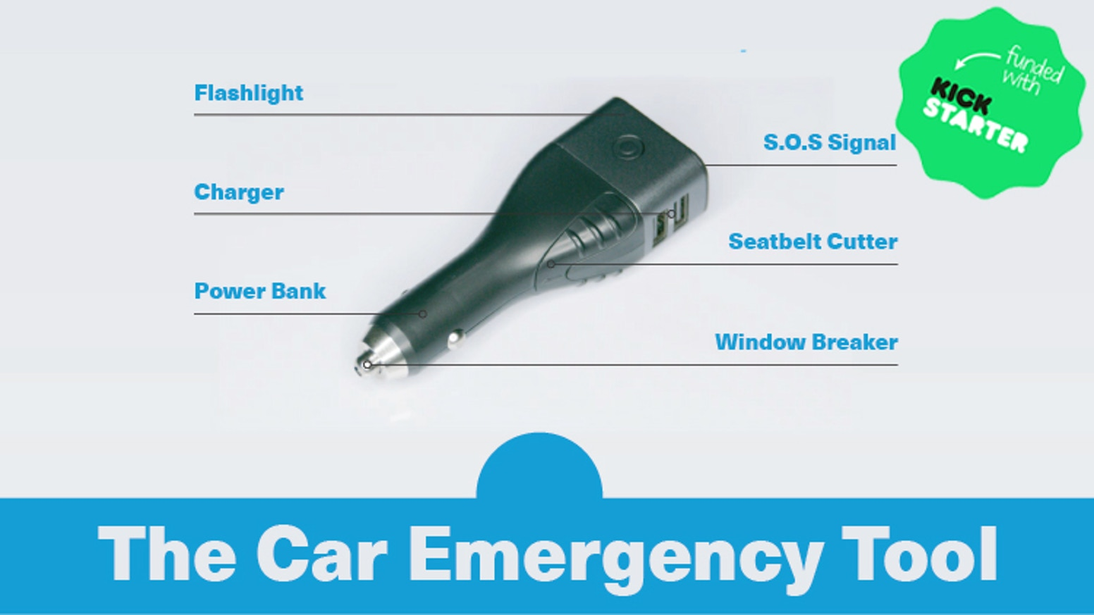 The car EDC tool that can save your life. Use it as car charger, power bank, LED torch, S.O.S beacon, window hammer, seatbelt cutter.